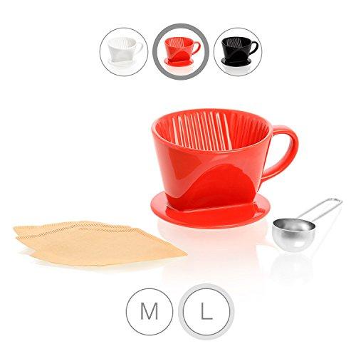 Amazy Porzellan Kaffeefilter inkl. Dosierlöffel und 10 gratis Filtertüten Typ 102 (Größe 4) –...