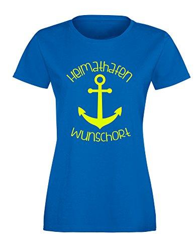 Heimathafen - Wunschort - Anker - Wunsch - Damen Rundhals T-Shirt  Royal/Neongelb