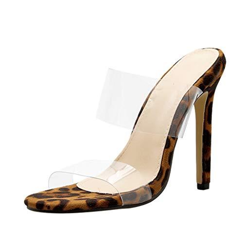 Mitlfuny Damen Sommer Sandalen Bohemian Flach Sandaletten Sommer Strand Schuhe,Frauen Leopard zeigte Peep Toe Super High Thin Heel Sexy Schuhe Sandalen Slip On
