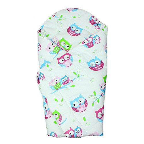 TupTam Baby Einschlagdecke Warm Wattiert Baumwolle, Farbe: Eulen Rosa, Größe: ca. 75 x 75 cm