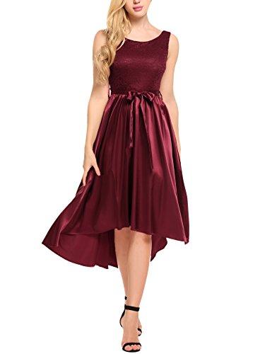 Meaneor Damen Spitzenkleid Vorne Kurz Hinten Lang Festliche Kleider Ärmellos Partykleid mit Gürtel    X-Large,   Red (Spanisch-spitze-lange Kleid)
