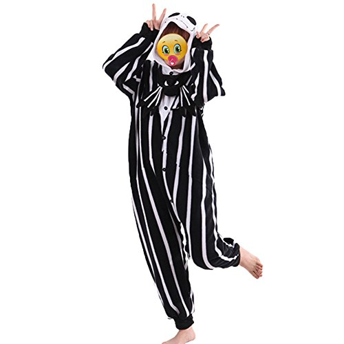COHO Unisex Kostüm The Nightmare Before Christmas / Jack Skellington, als Pyjama oder Verkleidung verwendbar, für Erwachsene geeignet, Kigurumi-Stil Medium (162-171 (Before Christmas Nightmare Kostüm Jack)