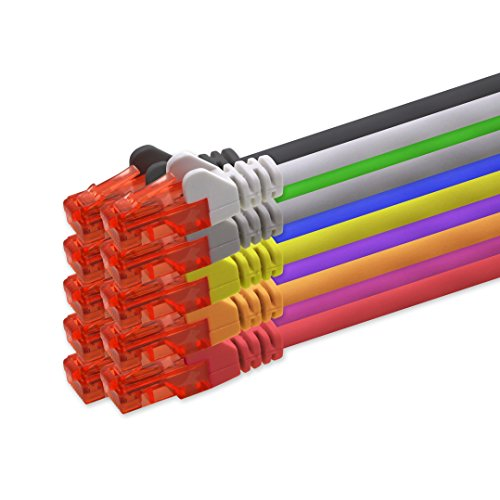 1aTTack.de 0,5m - 10 Farben CAT 6 Netzwerkkabel Patchkabel 1000 Mbit RJ45 Stecker kompatibel zu CAT5e CAT5 CAT6 CAT7 Dsl Internet Router