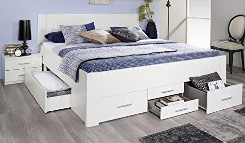Rauch Bett mit 6 Schubkästen alpinweiß 180 x 200 cm Schubladenbett Funktionsbett