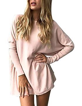 FEITONG Mujer retro manga larga blusa de encaje Camisetas largas Tops huecos
