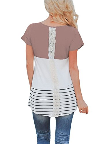 Damen Oberteile Rundhalsausschnitt Blusen Kurzärmlig Sommer Strand Mini Cocktail Tops T-Shirt Braun