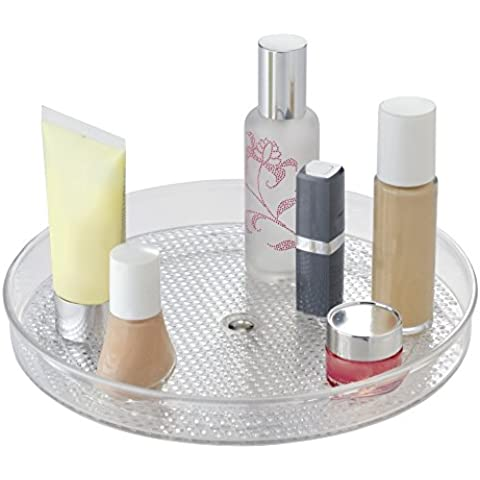 mDesign - Organizador giratorio para cosméticos, para el gabinete del tocador; guarda maquillaje, productos de belleza - 23 cm - Claro