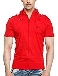 Tees Collection Men's Full Zip Dragon Neck Cotton T-shirt (Red_TCBC003)