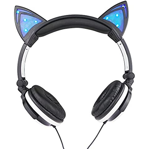 LED Orejas de gato de auriculares Con luces brillantes