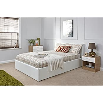 Ottoman Double Storage Bed Upholstered In Faux Leather