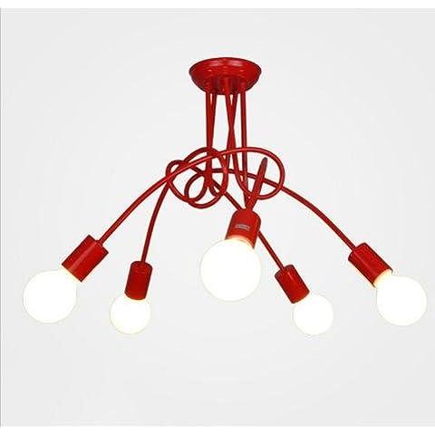 LINA-Retro Vintage colgante tonos claros contemporáneo colgante techo techo Metal luz iluminación lámpara Lámpara de techo de hierro forjado 5 (59 * 45cm) , red
