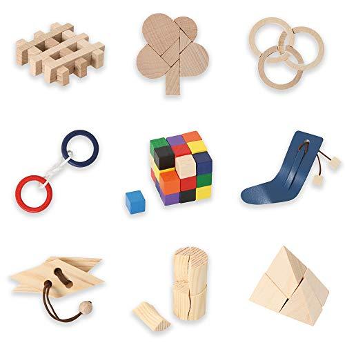 Bartl 500266 Knobelspiele aus Holz Puzzle Set C (9 Puzzles) Geschicklichkeitsspiele für Erwachsene und Kinder