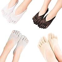 Black Temptation Frauen Low Cut Thin Five Fingers Knöchel Socken 4-Pack, A 1