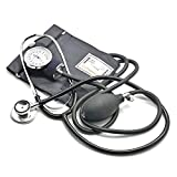 Belmalia Sfigmomanometro Aneroide con Stetoscopio Doppio, Pera, Manometro, Bracciale, Borsa per Servizio di Emergenza, Medico, Consultazione, Nero