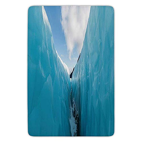 Bath Rug Kitchen Floor Mat Carpet,Nature Decor,Frozen Ice Mountains in North South Polar Cubes Winter Theme Art Print,White and Blue,Flannel Microfiber Non-Slip Soft Absorbent ()