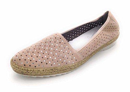 Rieker 47856-62 Damen Espadrilles aus Veloursleder Textilfutter Lederinnensohle, Groesse 37, rosa