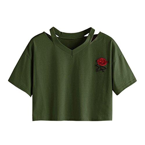 Rose Tie Dye T-shirt (TUDUZ Tops Damen T-Shirt mit Rose Stickerein Kurzarm V-Ausschnitt Sommer Oberteile Shirt Bluse (L, Armeegrün))