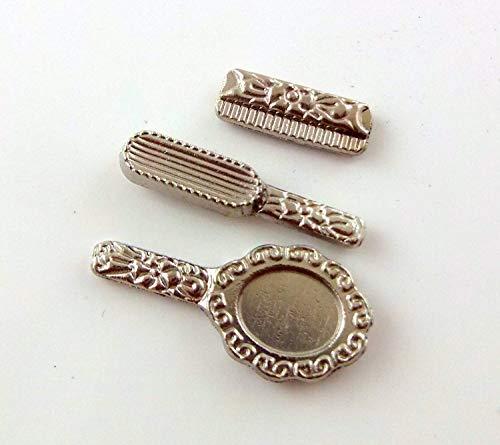 Melody Jane Puppenhaus Miniatur 1:12 Zubehör Schminktisch Set Spiegel Bürste Kamm Silber