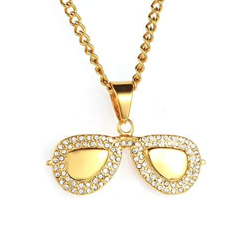 Schmuck Herren Hip-Hop Edelstahl Halskette Set mit Diamant Gold Sonnenbrille Gläser Titan Stahl Anhänger