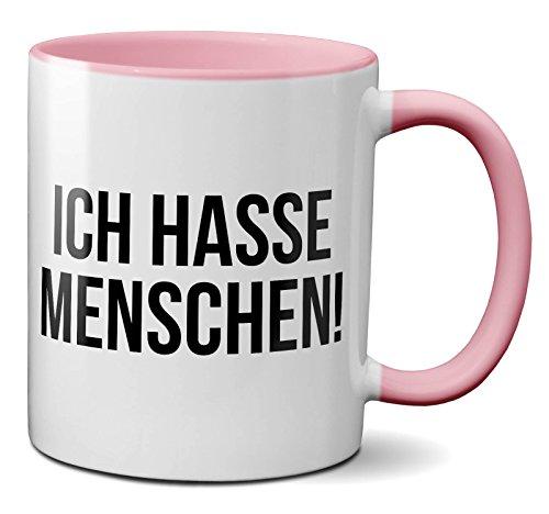 PAPAYANA 1016 - Ich-Hasse-Menschen - Beidseitig Bedruckte Tasse 325ml 11oz - Große Farbauswahl - Pink