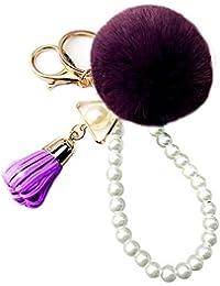 Nowbetter Pom Pom Tassel Porte-clés Mignon Hairball Frange Perle Pendentif  Porte-clés de Voiture Sac à Main… 7579430858a