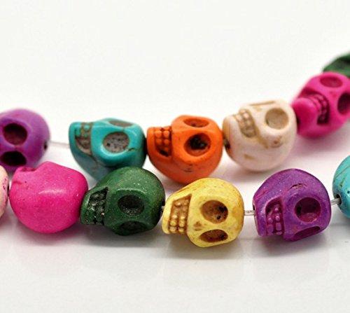 Sadingo Howlithperlen Perlen - Totenköpfe, Schädel, Skull - 30 Stück, 1 Strang - 13 x 12 mm - Zufälliger Mix