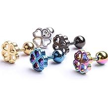 zhichengbosi 5Pack Clover Leaf Pendientes Studs acero anillo de titanio studs elegante hipoalergénico cuerpo piercing