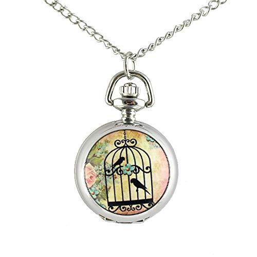 Feelontop® Fashion Birdcage mit Vögeln Blumenmuster Taschenuhr Lange Silberfarbene Metallketten-Halskette mit Schmuckbeutel