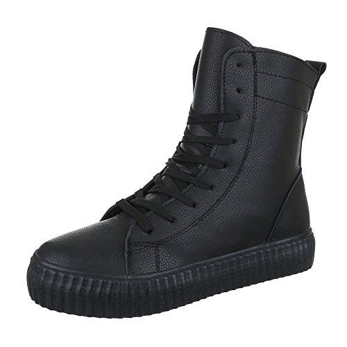 High-Top Sneaker Damenschuhe High-Top Moderne Reißverschluss Ital-Design Freizeitschuhe Schwarz