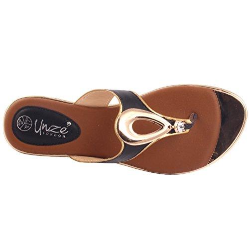 Unze Nouveau Femmes Bande 'Ladies' Open Toe Thong Carnival Flat Summer Chaussons Taille de chaussure 3-8 Noir