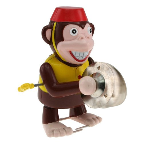 Thumbs Up WINDMNKY - Aufziehfigur Affe mit Becken - Retro Wind Up Monkey