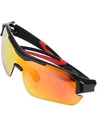 Aolvo Lunettes de soleil polarisées, verres d'équitation Sports Lunettes de soleil pour Baseball/cyclisme/pêche/Golf/Super Light Field Moto coupe-vent Miroir/lunettes de soleil, ajustement pour mâle ou femelle, bleu/noir