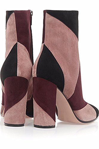 Damen Europa kämpfen Farbe Suede Reine Handpumpe Stiefel 1