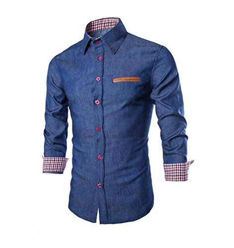 ZEZKT-Herren Kariert Männer Hemd, Kentkragen Knopf Herren Freizeit Langarmshirt ❄Passt super auch zur Jeans (M, Denim mit Kariert - Dunkelblau) -