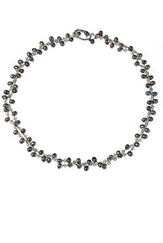 lustrous-peacock ovalada perlas y cuarzo ahumado collar con cierre de plata (larga y longitud normal)