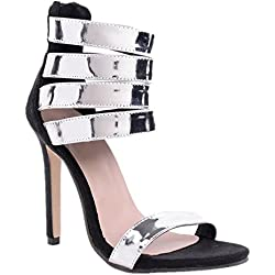 Female Patent Leather Rom Fish mouth sommer Fine Band Rechtschreibung 11 cm High Heels Sandals (38)