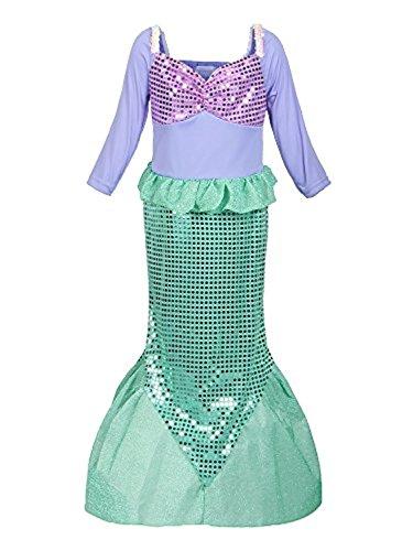 Kinder Festival Kostüm - Zeeton Mädchen Kostüm Arielle Prinzessin Kleid Party Kinder Meerjungfrau Cosplay Paillette Kleidung Festival Hallween Karnerval 140