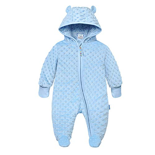 Herbst Und Winter Warm Baby One-Piece-Pyjama, Baby Haber-Beutel-Handtasche Fuß Geeignet Für 0~3 Jahre Alt Baby Body,Lightblue,85cm