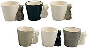 Villa D'Este Pets Set de Tasses à espresso, Chats, grès, gris, 6 pièces