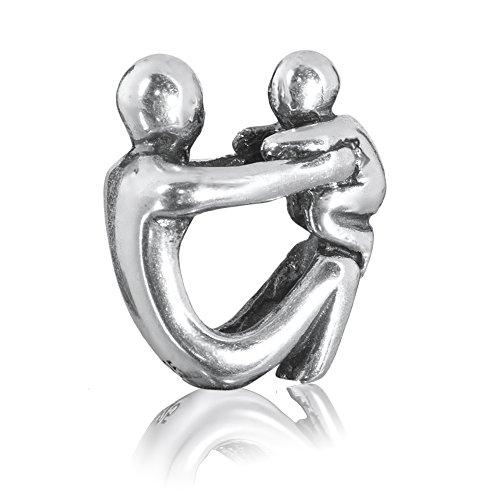 """Andante-Stones 925 Sterling Silber Bead Charm """"Elternschaft"""" Element Kugel für European Beads + Organzasäckchen"""