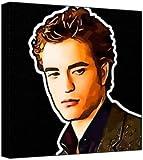 Robert Pattinson?Pop Art Print (Multicolore?; Fond Noir) 30x 30x 2cm Medium carré Deep Box sur Toile