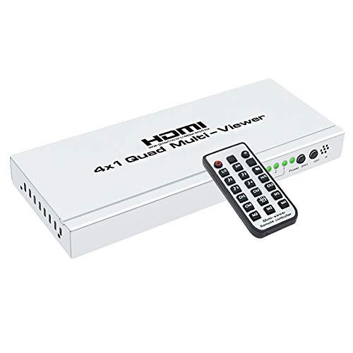 Nrpfell 1080P Hub Switcher 4x1 Quad Multi Viewer High-Definition-Bildschirm Segmentierung Nahtlos Umschalter Ausgang Schalter Für HDTV DVD Ps3 Stb Eu Stecker Quad Switcher