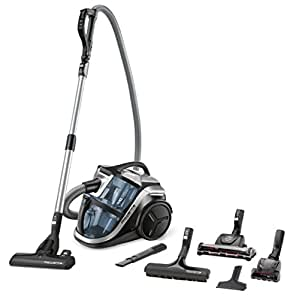Rowenta RO8366EA Aspirateur sans Sac Silence Force Multi-Cyclonic Animal Care Pro 3 AAA Silencieux 68dB Accessoires Spéciaux Poils d'Animaux et Voiture 750W Bleu et Noir