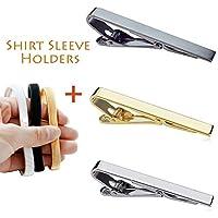 3pcs Tie Bar Clip para hombres y 3 pares de sujetadores de mangas de camisa,