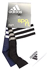 Adidas AD437 Half Cushion Socks (White/Black/Night Blue)