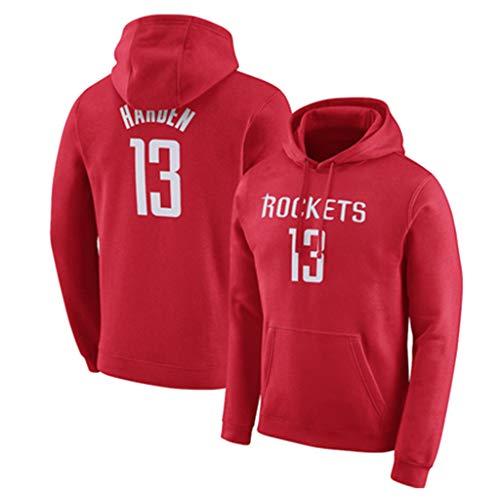 NBA Hoodie Spring Sweatshirt Rockets Harden Basketball Sweater Herren Hooded Match Group Herren Loose Hooded,Red ()