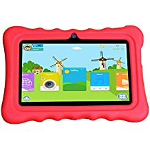"""JINYJIA 7"""" Android 4.4 Google Kids Tablet PC + Rosso Silicone Caso, Applicazioni per Bambini Preinstallati, Allwinner A33 1.5GHz Quad-Core Dual Macchine Fotografiche Bluetooth WiFi 8GB"""
