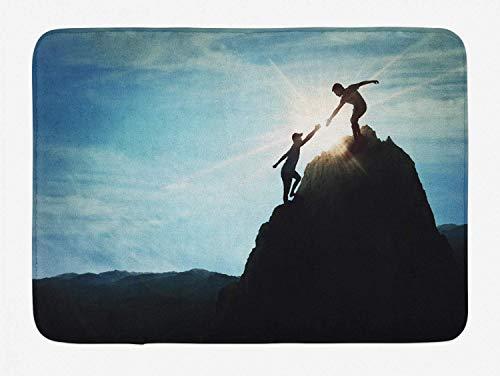Soefipok Extreme Sports Badematte, helfende Hand unter dem Motto Jungen auf dem Hügel Illustration Sonnenstrahlen im Hintergrund, Plüsch Badezimmer Dekor Matte mit Rutschfester Rückseite