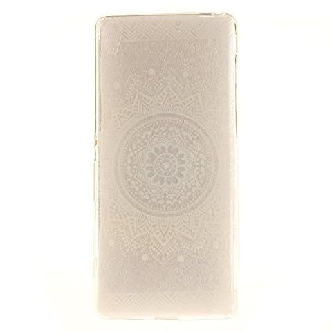 "Sony Xperia XA Hülle, SsHhUu Kratzfeste Transparent Weiche Soft TPU Case Bumper Tasche Handyhülle Schale Case Cover für Sony Xperia XA / F3111 / F3113 (5.0"") - Weißes Charmantes Mandala Blumenmuster"