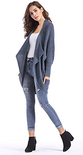 ClasiChic damen Strickjacke Irregulär Cardigan Asymmetrisch Langarm Loose Pullover mit Taschen Grau